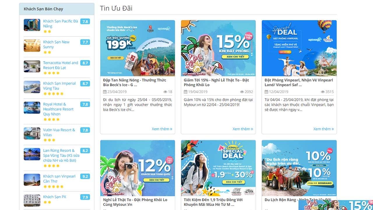 Mytour.vn là app đặt phòng khách sạn online với rất nhiều ưu đãi chạy quanh năm