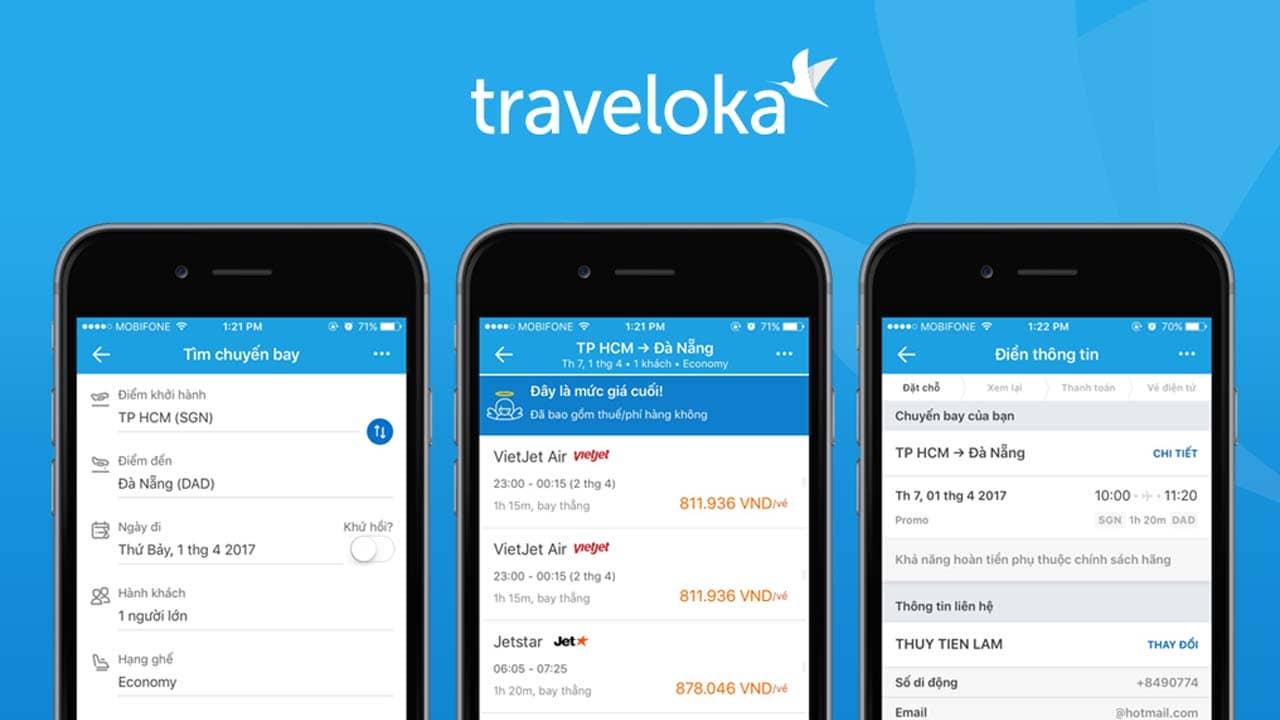 App đặt phòng khách sạn online Traveloka. Nguồn: Internet