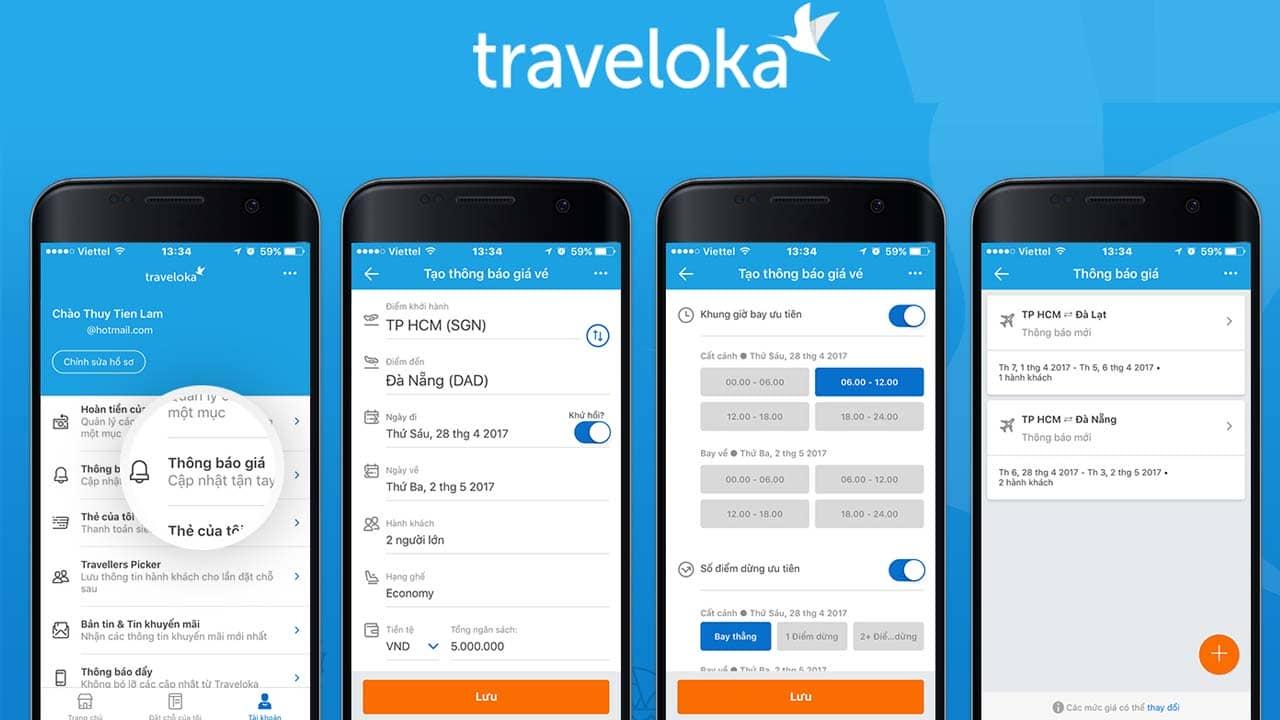 Tính năng đặt vé máy bay của Traveloka tiện lợi với mức giá tốt. Nguồn: Internet