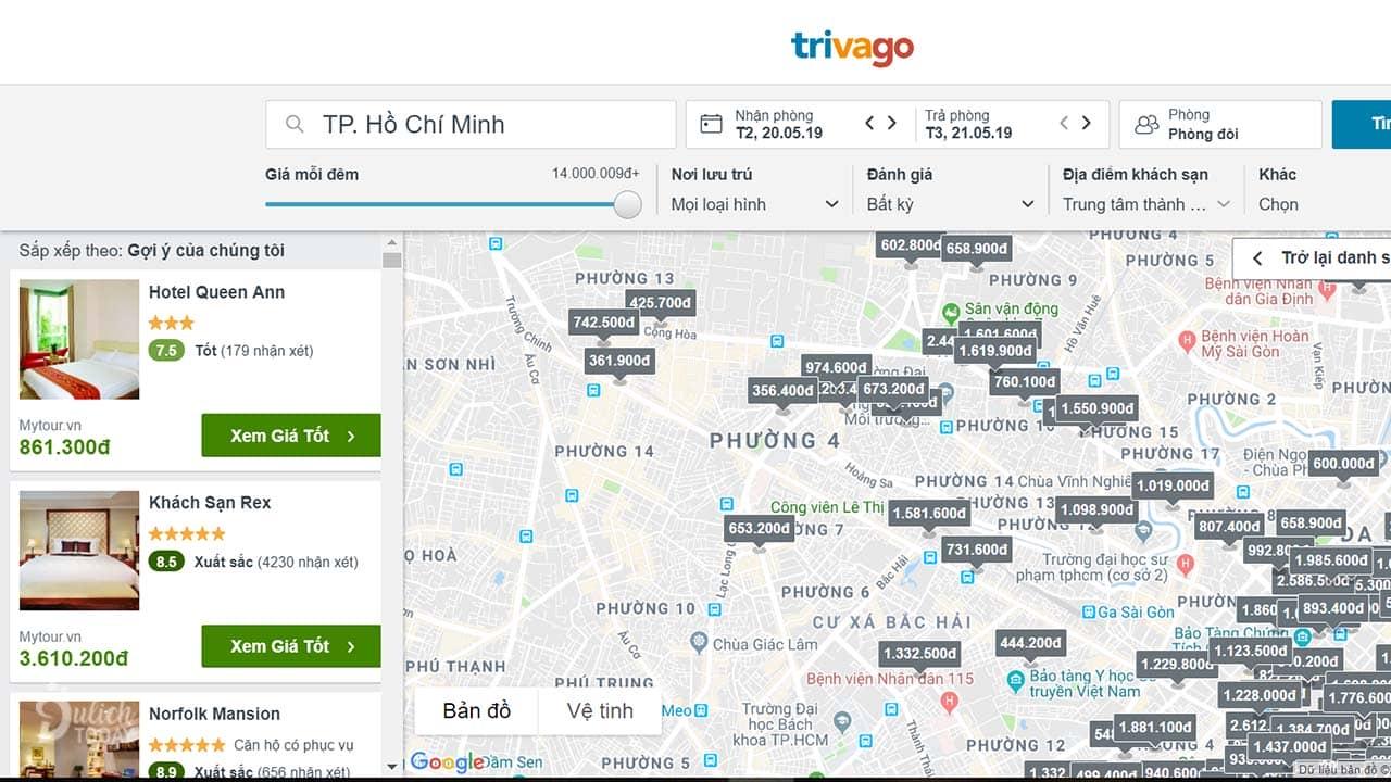 Giao diện bản đồ thông minh của Trivago