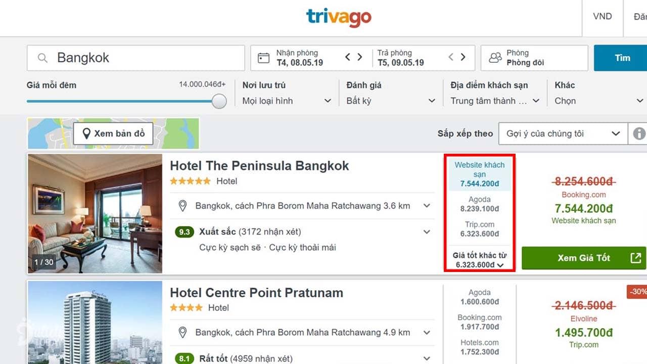 Trivago là app đặt phòng khách sạn online có sự so sánh giá của các trang đặt phòng khác