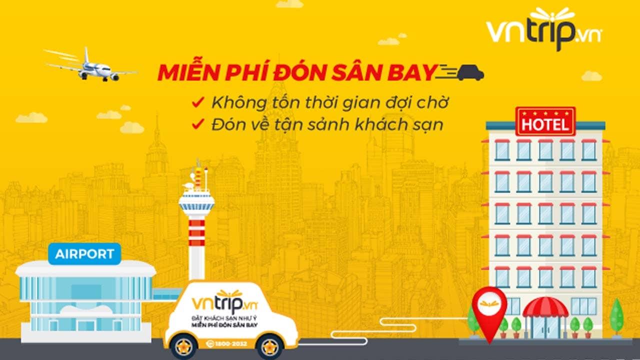Vntrip là app đặt phòng khách sạn online duy nhất miễn phí dịch vụ đưa đón sân bay - khách sạn. Nguồn: Internet