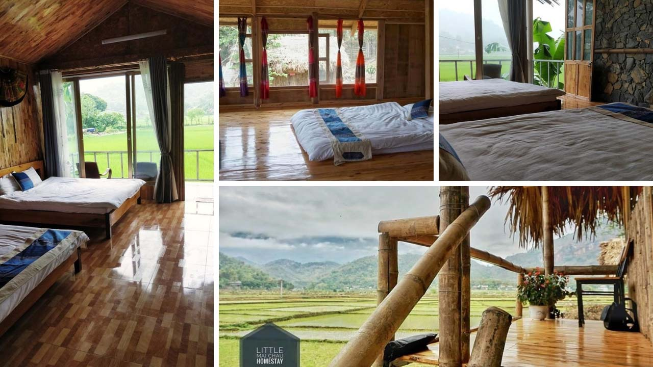 Ban công mỗi phòng tại little homestay mai châu sẽ là địa điểm ngắm cảnh không thể bỏ qua trong kỳ nghỉ