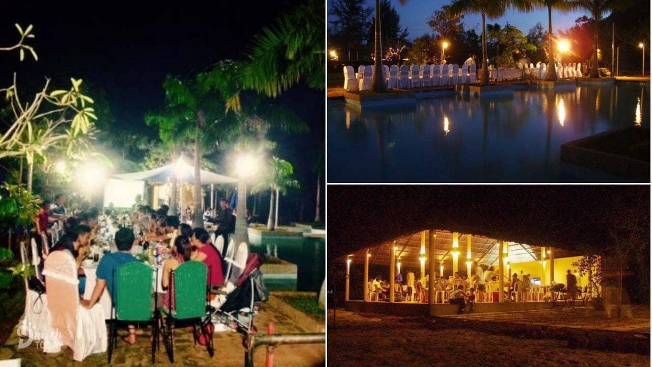 Du khách thưởng thức bữa tối tại nhà hàng bên cạnh bể bơi với view nhìn ra sông Ray