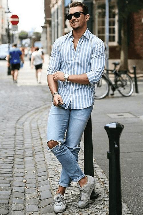Nếu như đàn ông gầy lấy áo sọc ngang làm bạn thân thì đàn ông béo nên kết bạn với áo sọc dọc