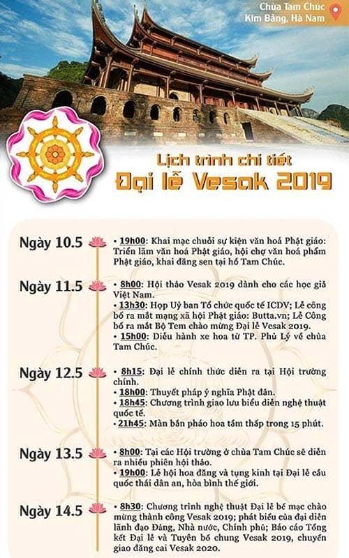 Lịch trình các hoạt động tại Đại lễ Phật Đản Chùa Tam Chúc