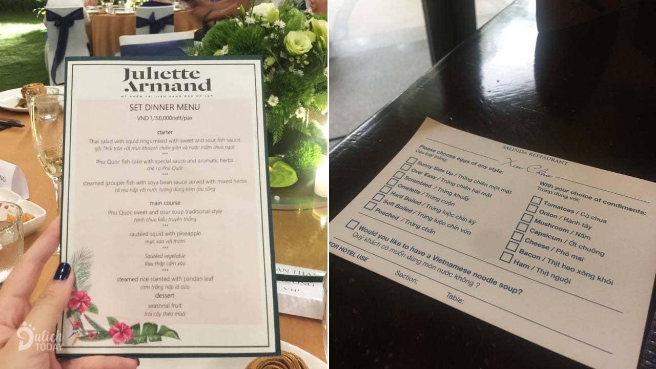 Menu và giấy order món khi ăn tại nhà hàng ở Salinda Resort Phú Quốc ahalong.com