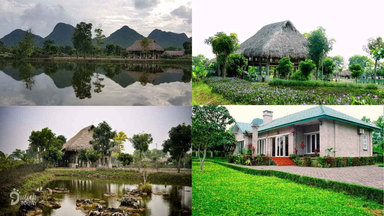 Những căn bungalow và villa tại resort Cúc Phương với tầm nhìn tuyệt đẹp ra hồ nước và núi non Ninh Bình
