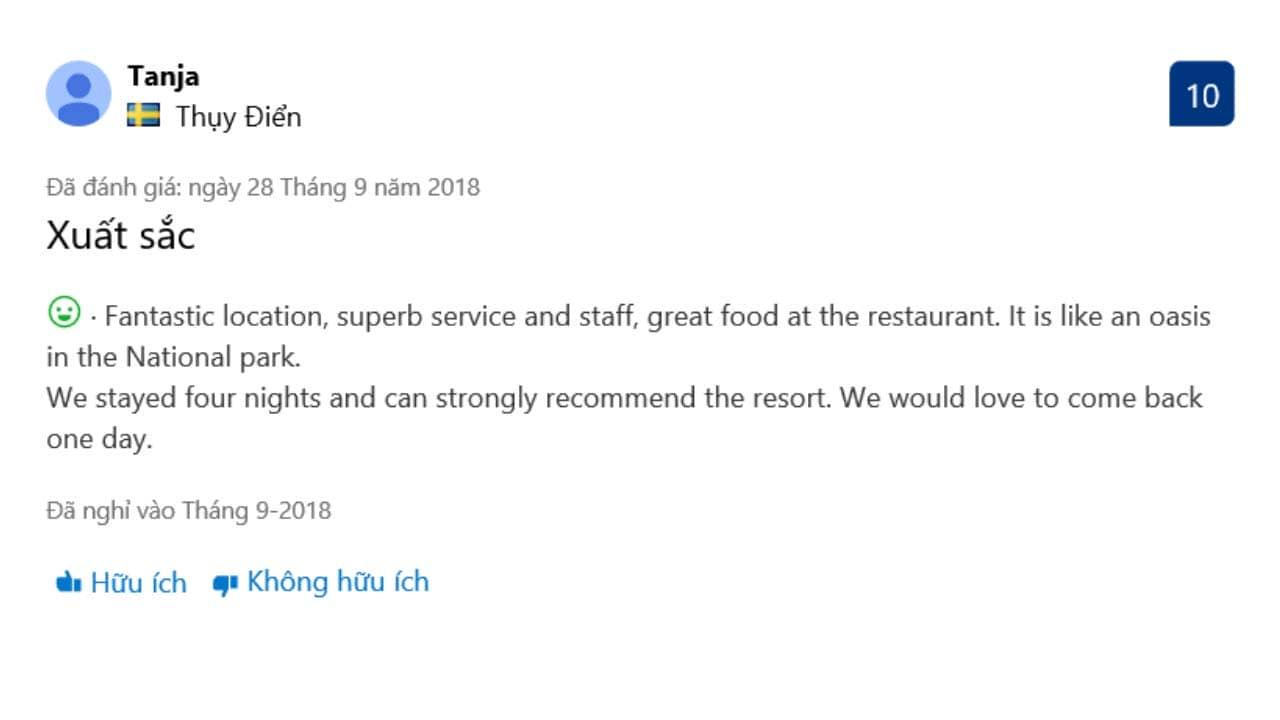 Review của du khách về ẩm thực tại resort