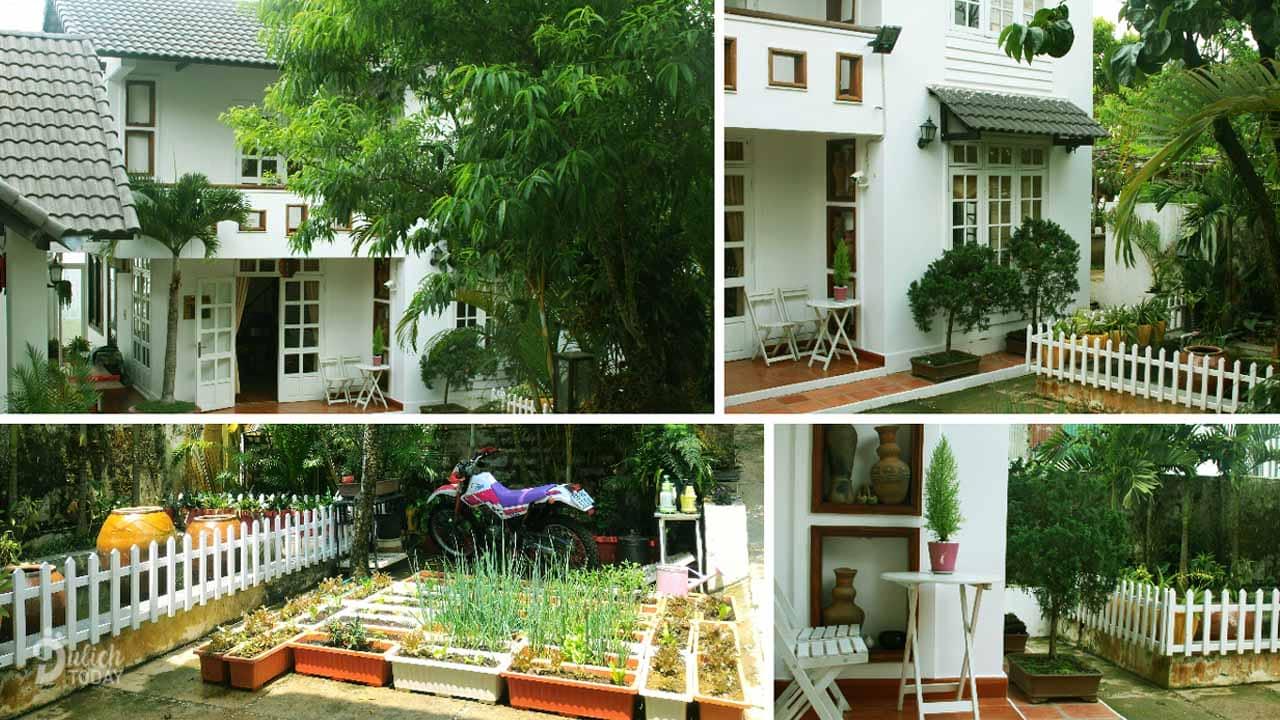 Villa Kim Gia Đà Lạt với sân vườn rộng và nguồn rau sạch tự trồng