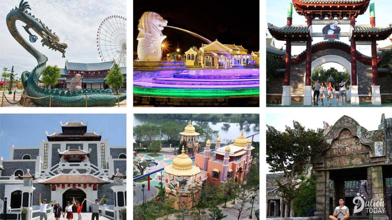 Khu công viên văn hóa với lối kiến trúc độc đáo tại Asia Park Đà Nẵng. Nguồn: Internet