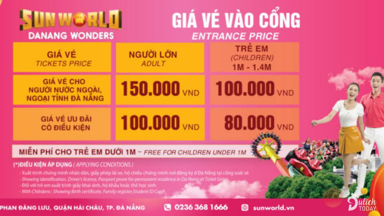 Thông tin giá vé vào cửa Asia Park Đà Nẵng 2019. Nguồn: Internet