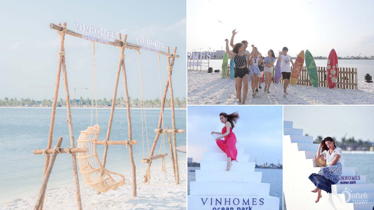 Những cụm cảnh quan nơi các bạn trẻ thỏa sức tạo dáng chụp ảnh check-in tại bãi biển nhân tạo Vinhome