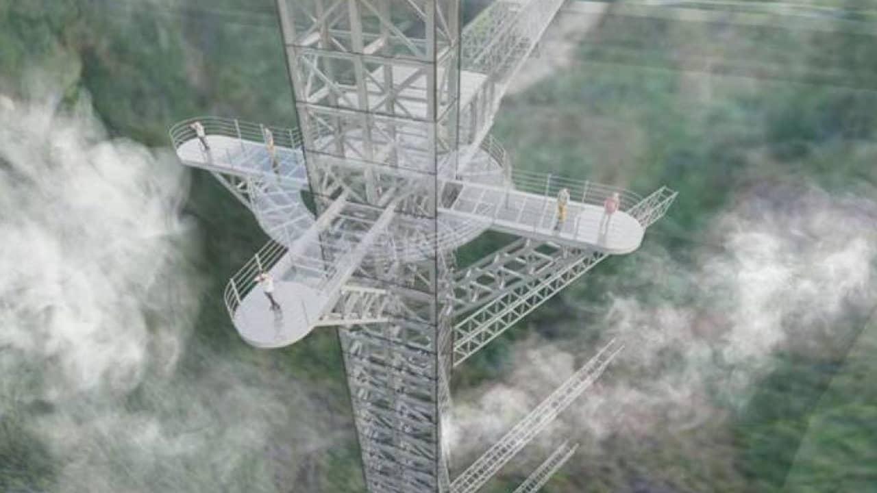 Hệ thống thang máy trong suốt ngoài trời nối liền với cầu kính Rồng Mây