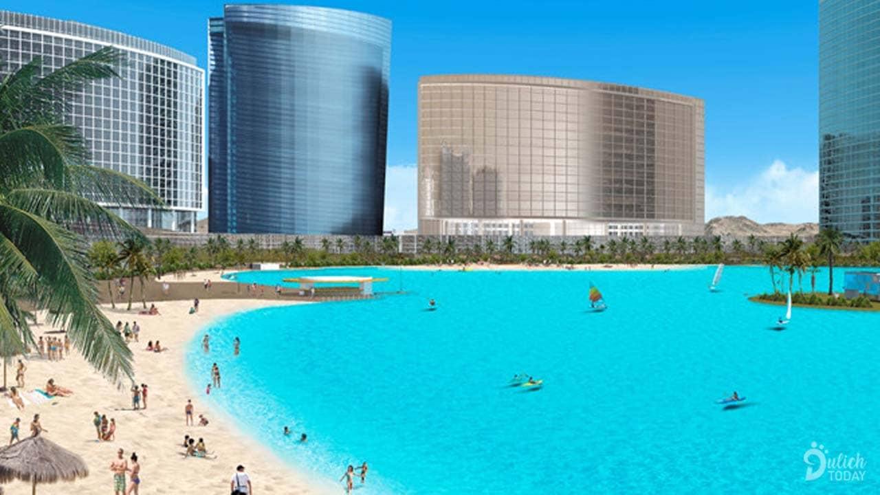 Bãi biển nhân tạo tại công viên Wynn Paradise là một trong những biển hồ đầu tiên của Las Vegas, Mỹ