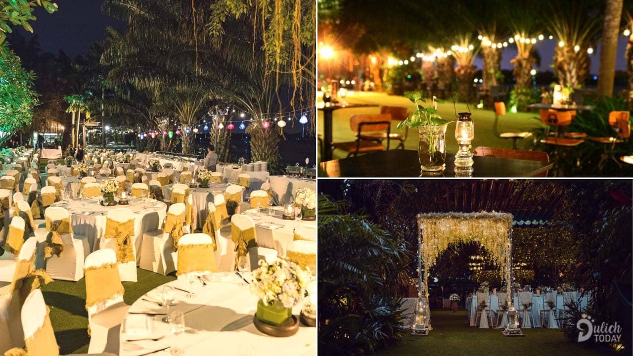 Không gian lung linh lãng mạn tại Thảo Điền Village vào buổi tối