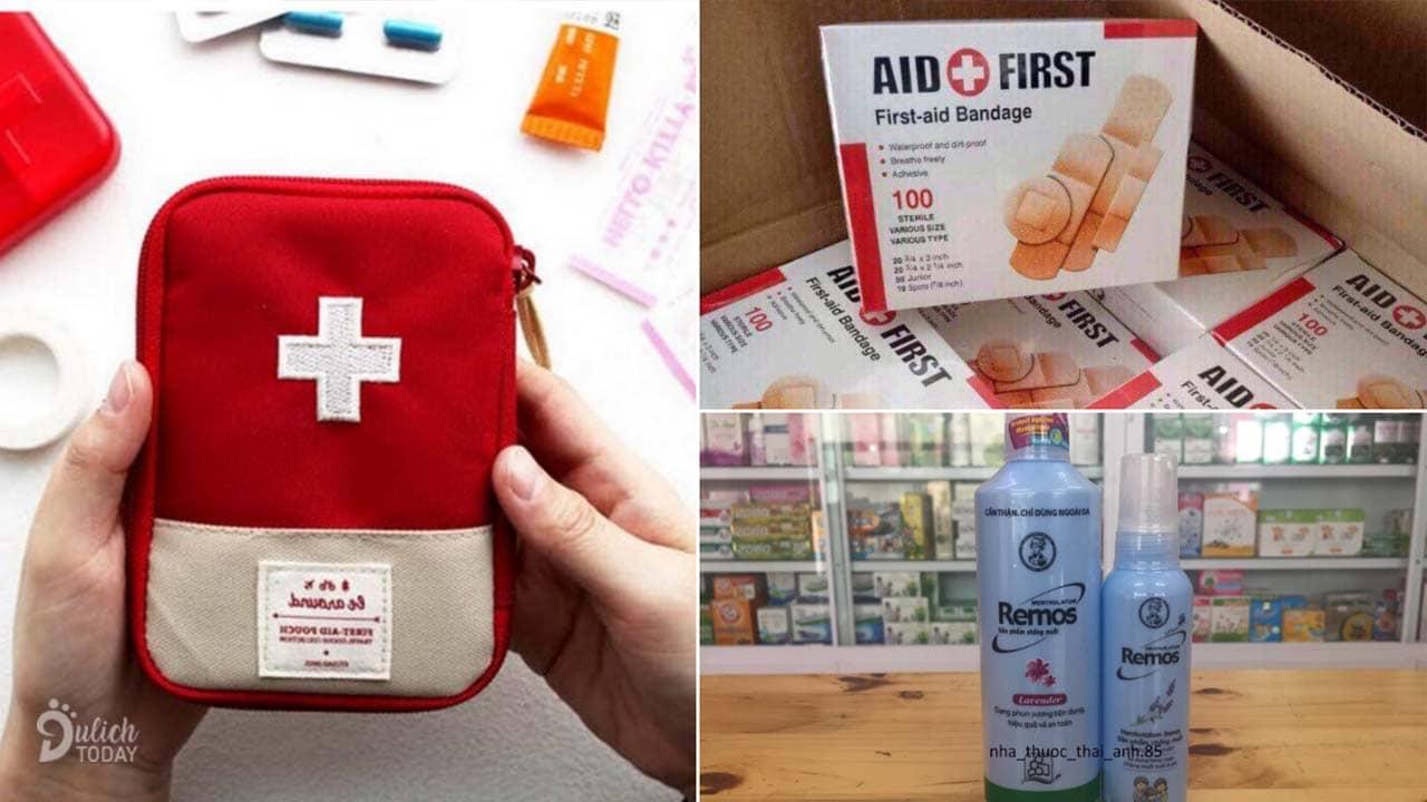 Hộp/túi đựng các loại thuốc và băng cơ bản cùng thuốc chống côn trùng