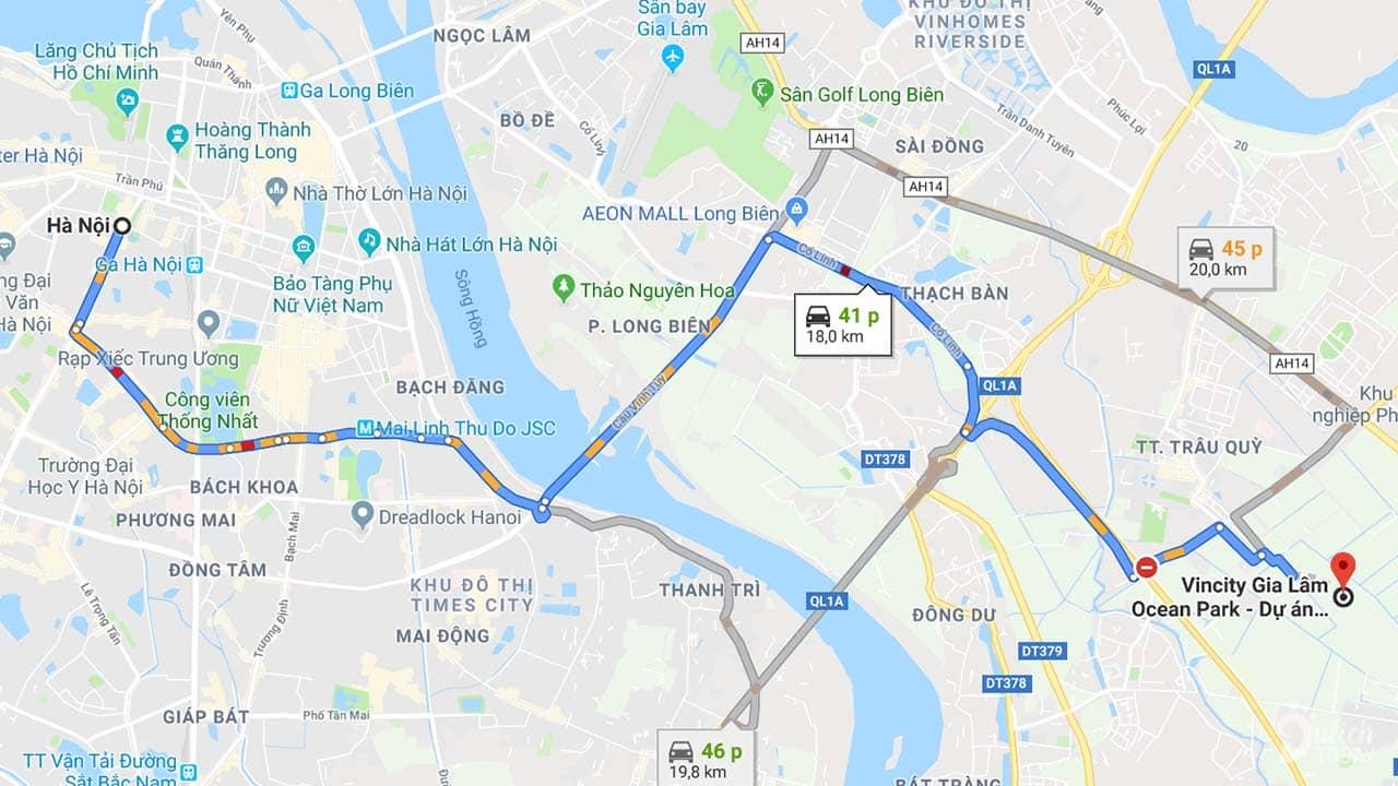 Bãi biển nhân tạo Vincity cách quận Hoàn Kiếm (Hà Nội) khoảng 40 phút di chuyển