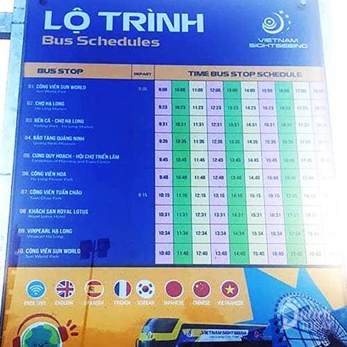 9 chặng hoạt động và thời gian của xe buýt 2 tầng tại TP Hạ Long