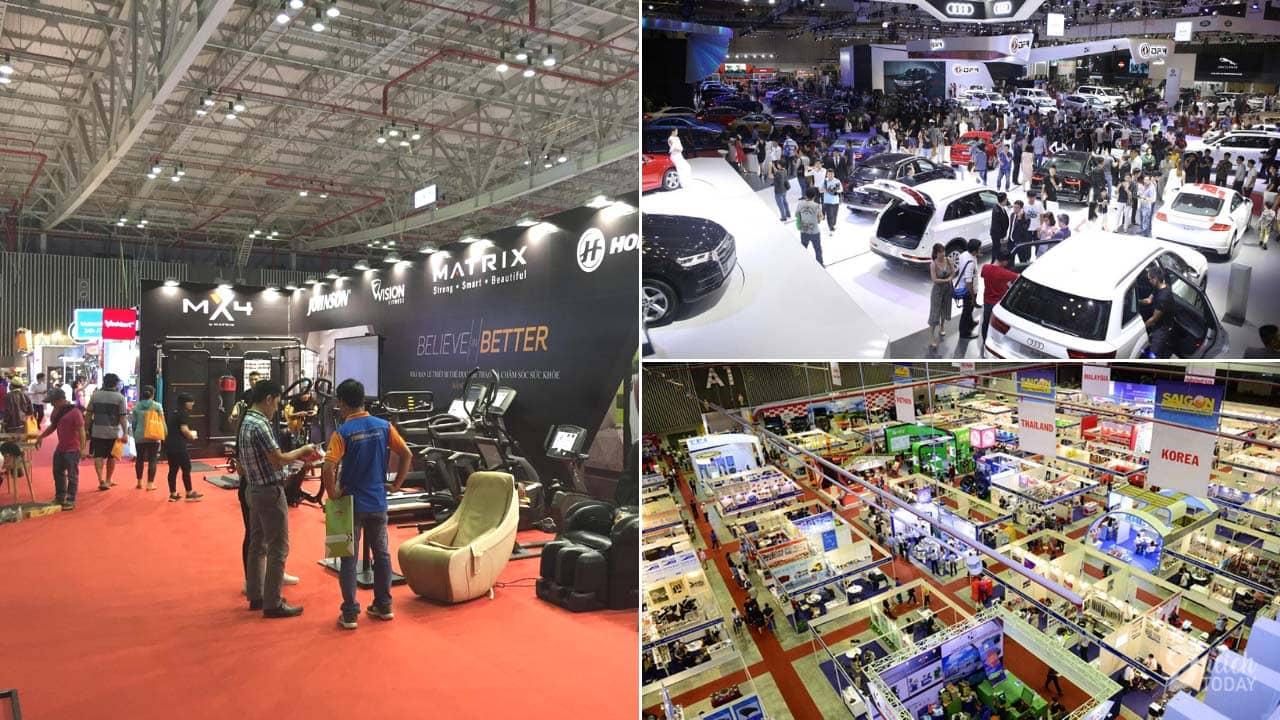 Trung tâm triển lãm và hội nghị Sài Gòn có diện tích rộng, thích hợp để tổ chức các sự kiện lớn như hội chợ du lịch, triển lãm ô tô,...