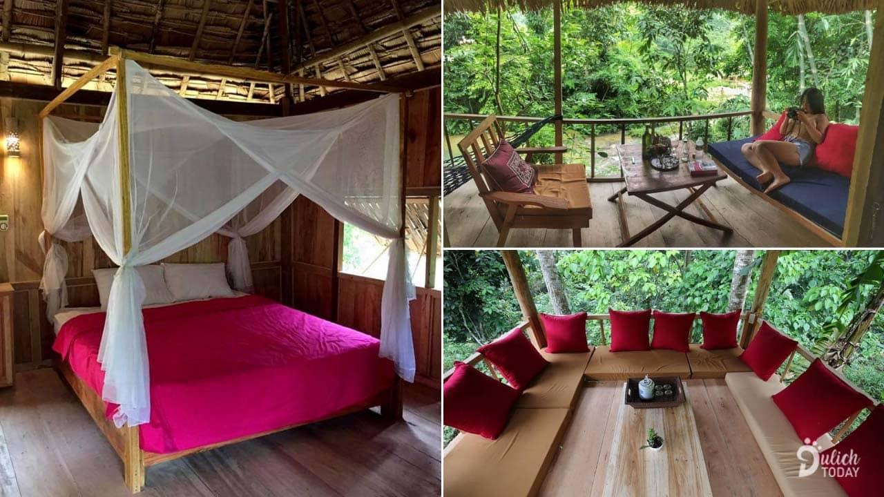 Bản Hiêu Garden Lodge sở hữu không gian rộng rãi và đa dạng với ban công, chòi, nội thất mới và đẹp