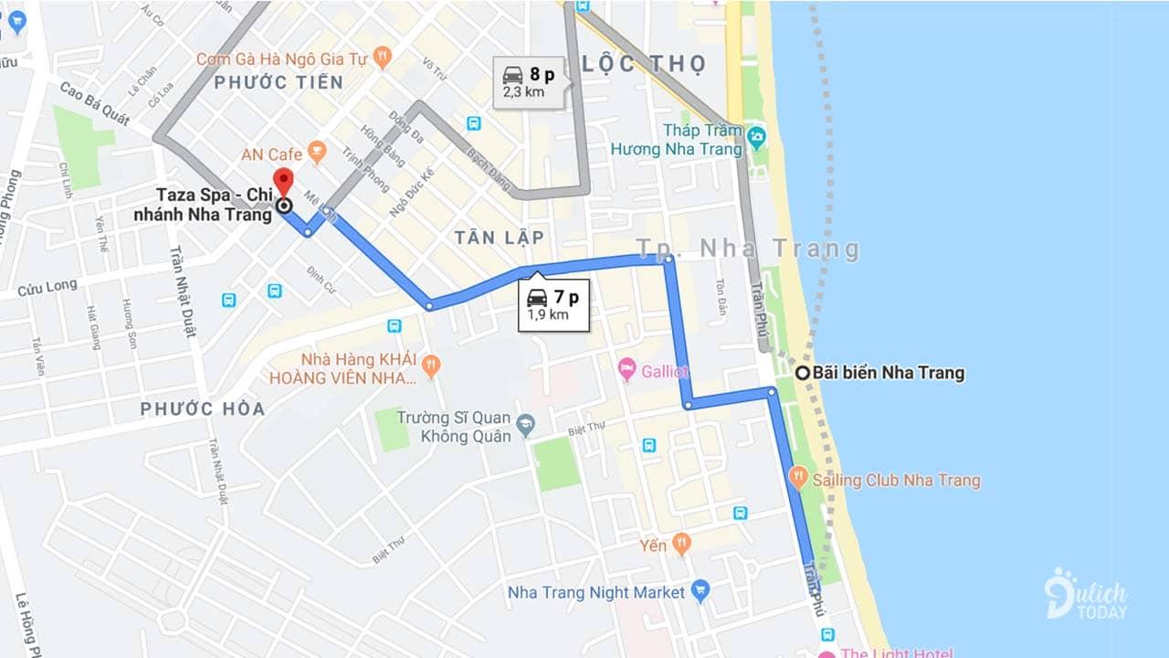Taza Spa Nha Trang nằm ở vị trí trung tâm cách bãi biển khoảng 2km