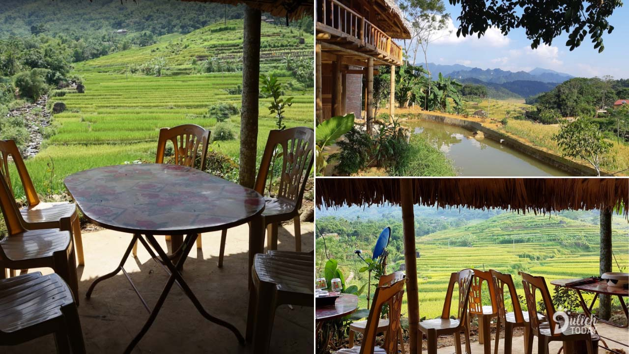 Homestay có khu vực bàn ghế view nhìn ra ruộng bậc thang và con sông nhỏ trước mặt