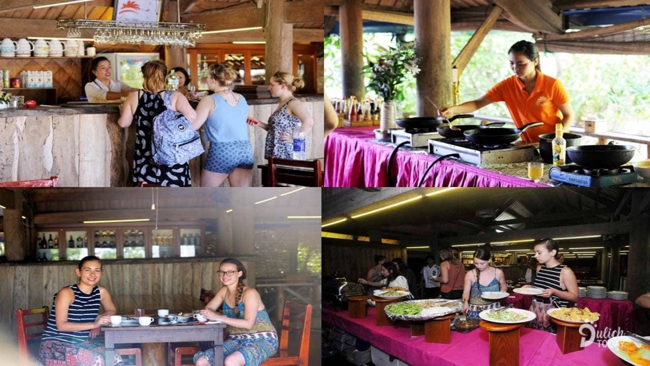 Du khách thưởng thức hải sản tại nhà hàng Monkey Island Resort
