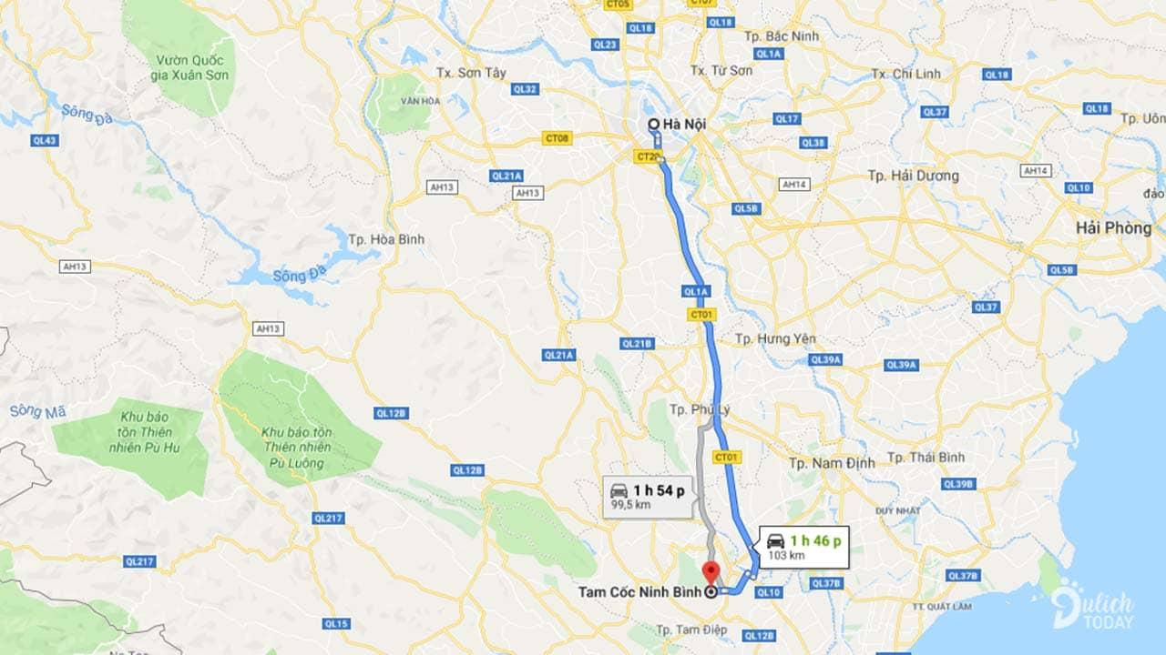 Tam Cốc Ninh Bình cách Hà Nội khoảng 100km