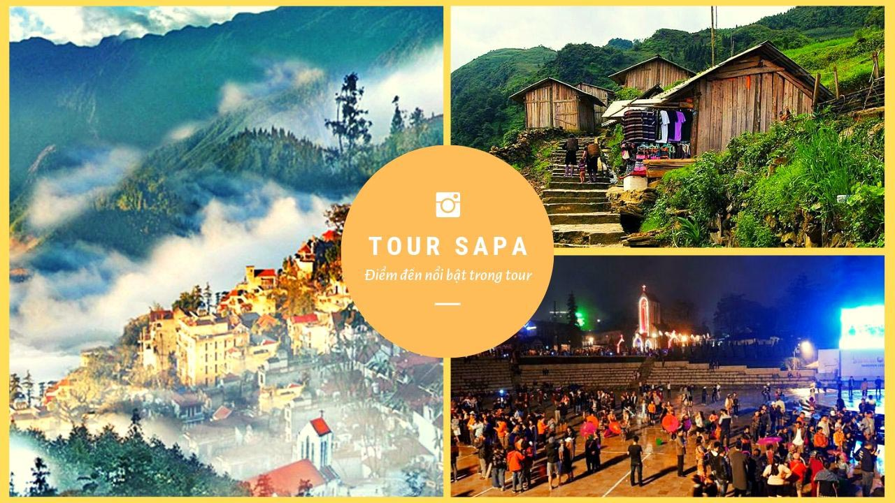 Điểm dừng chân của du khách trong tour Sapa 3 ngày 2 đêm sẽ là núi Hàm Rồng, sân Mây, bản Cát Cát, chợ tình Sapa