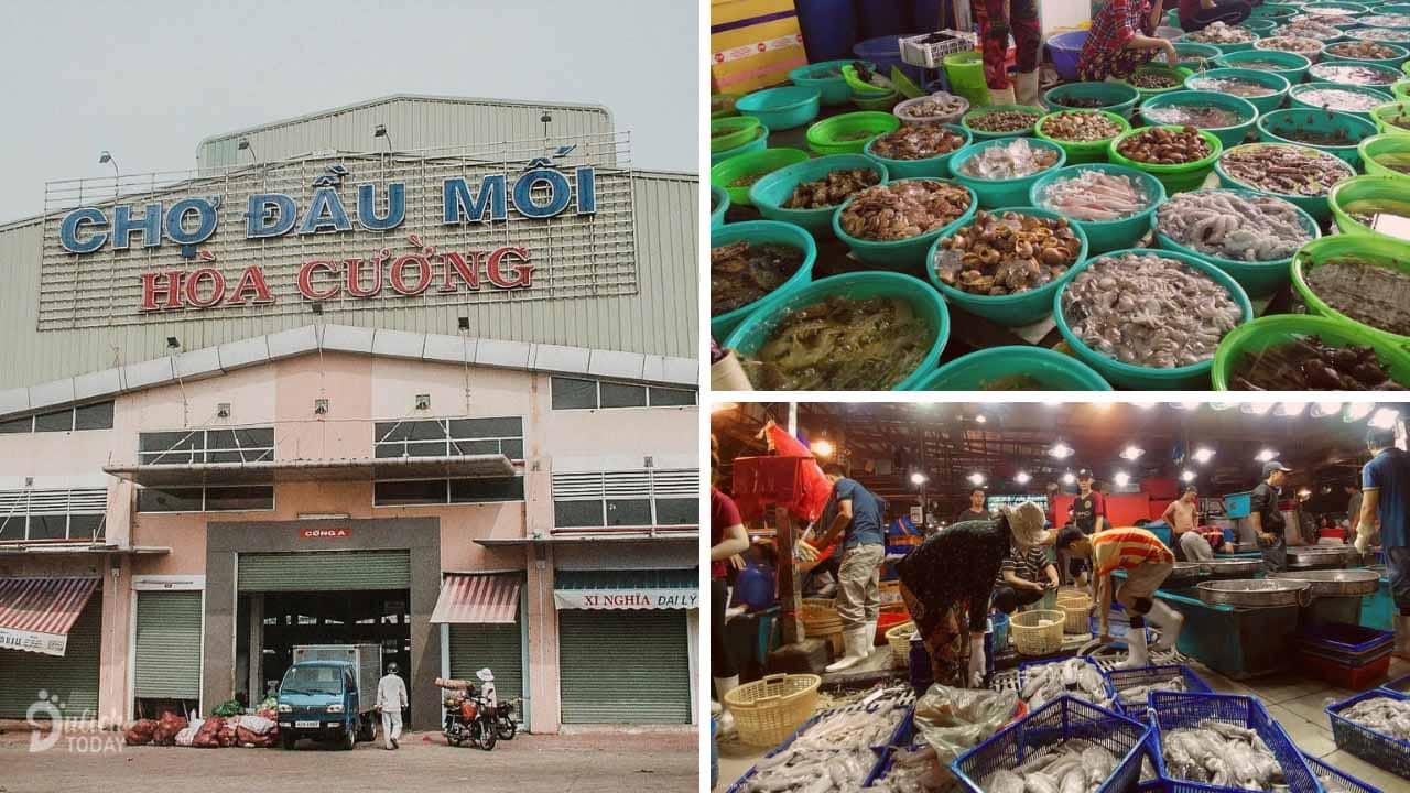Không gian mua bán sầm uất tại chợ Hòa Cường