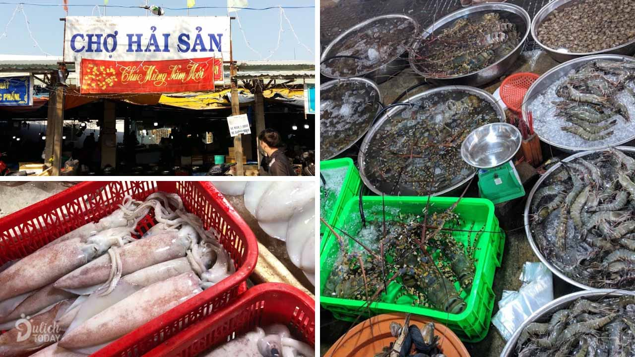 Chợ hải sản Đà Nẵng phường Thanh Khê Đông đa dạng các loại hải sản tươi ngon