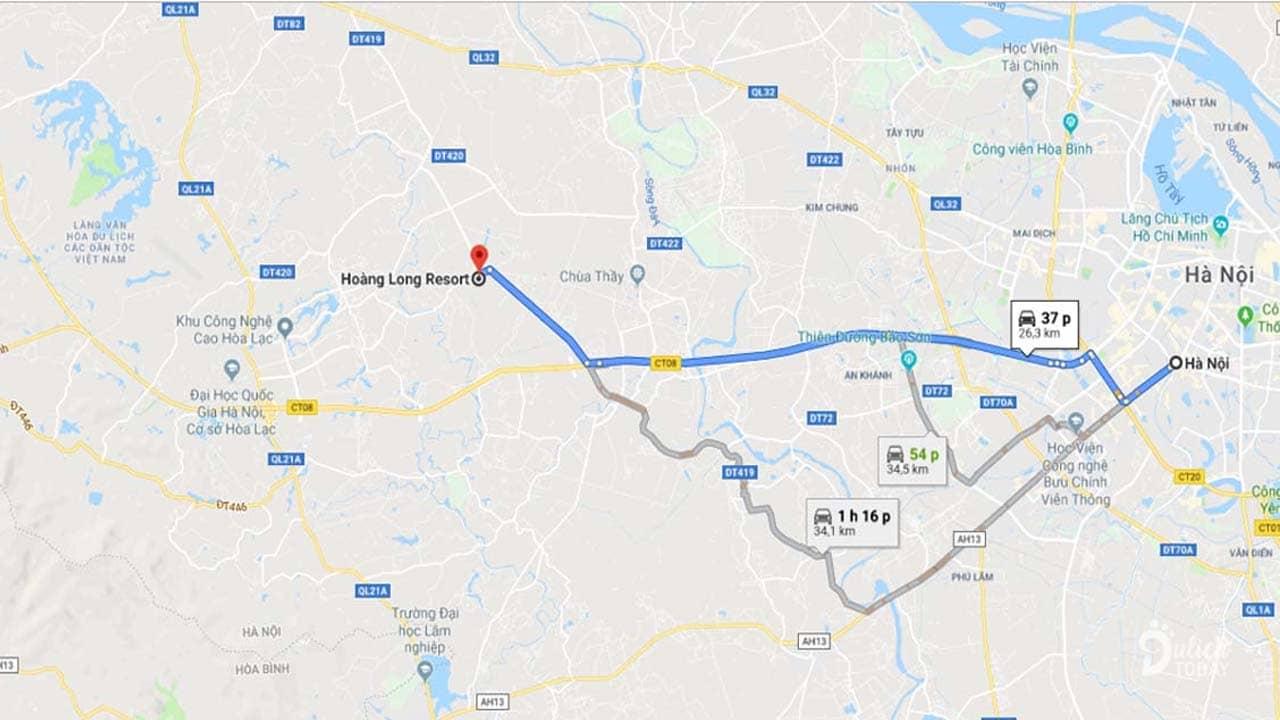 Hoàng Long Resort cách thủ đô Hà Nội khoảng 26,3km