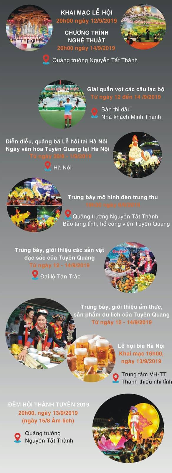 Timeline chuỗi hoạt động trong 3 ngày tổ chức lễ hội thành Tuyên 2019