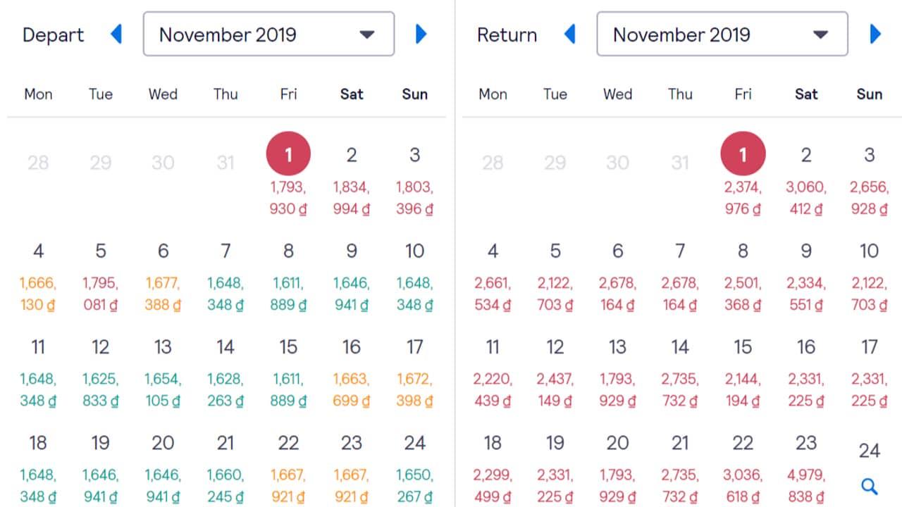 Giá vé các ngày trong tháng 11