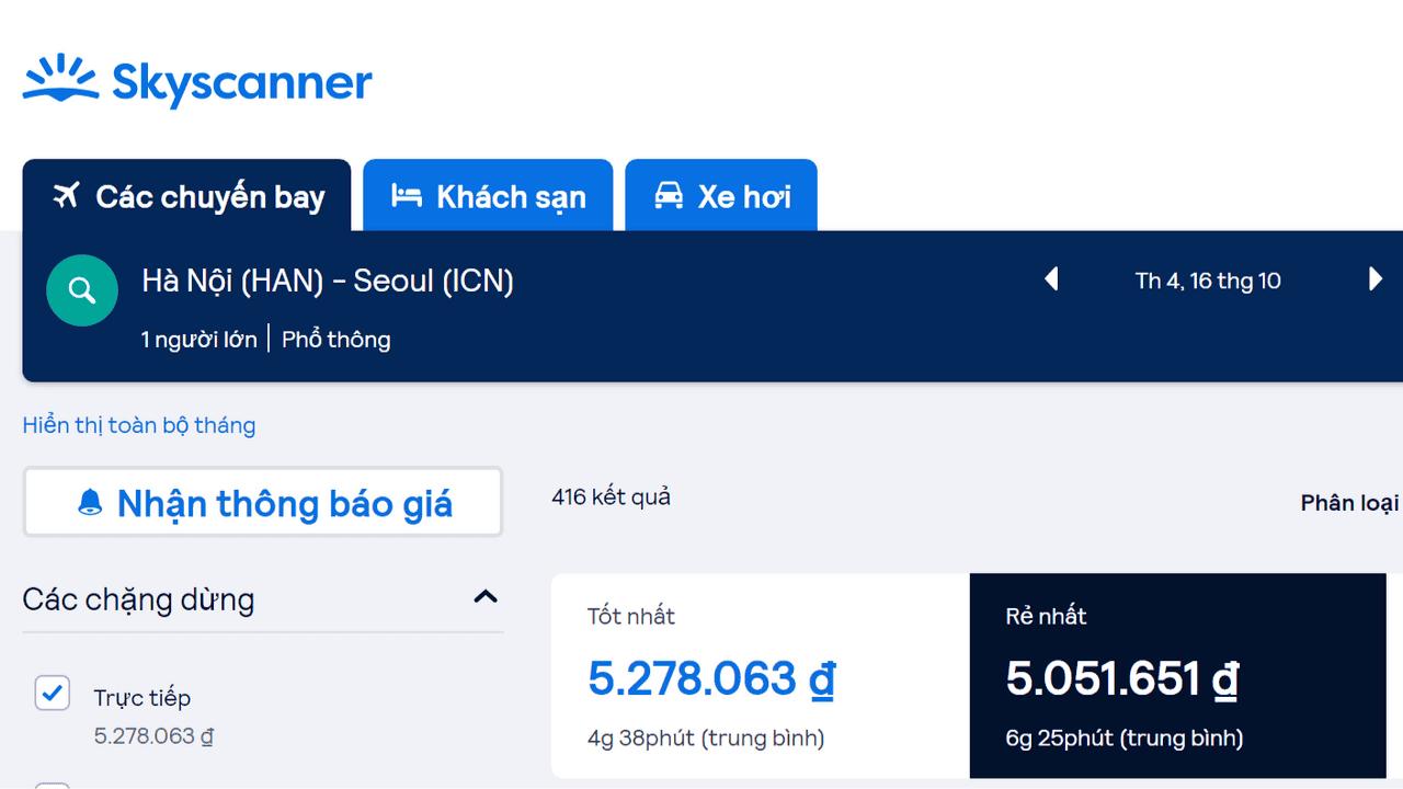 Kiểm tra vé máy bay của các hãng hàng không trên Skycanner