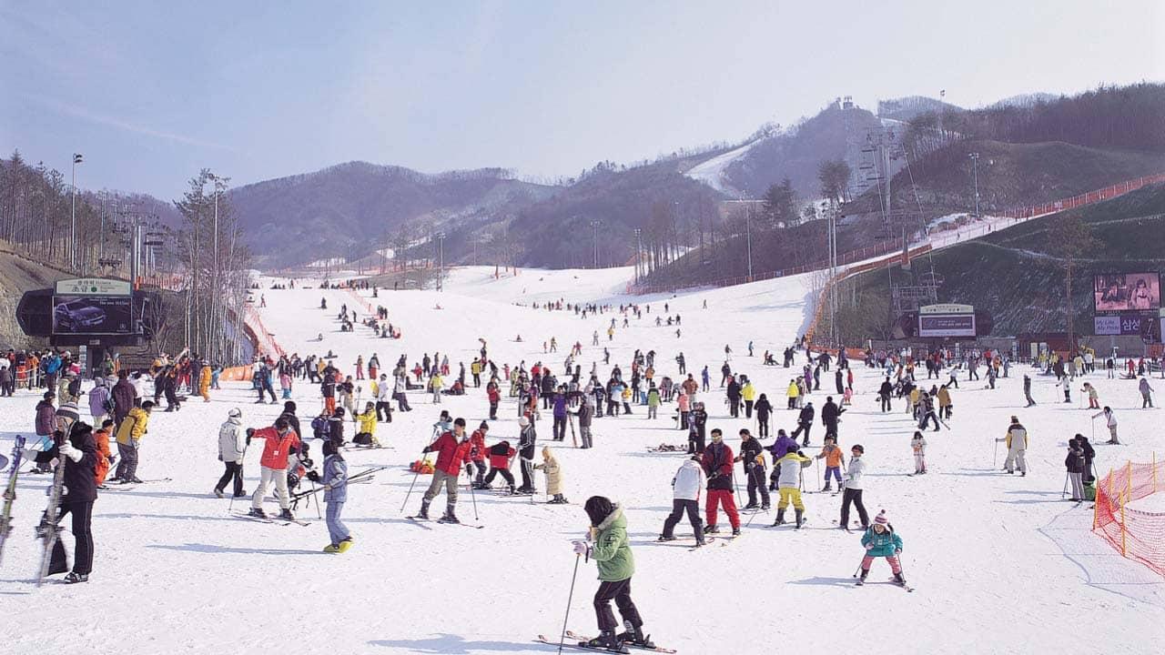Du lịch Hàn Quốc mùa đông hãy trải nghiệm trượt tuyết trên băng