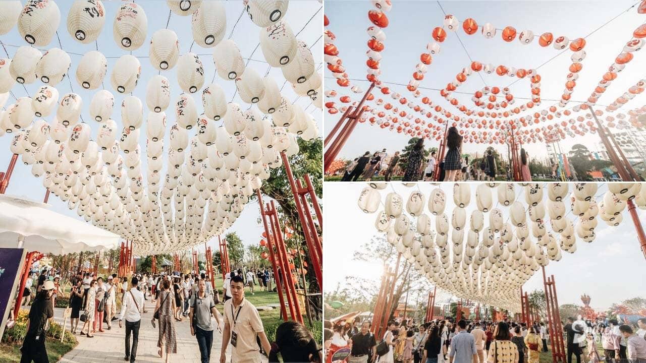 Công viên đèn lồng với gần 20 loại đèn khác nhau, hàng ngàn mẫu đèn lồng truyền thống Nhật Bản cùng các đèn lồng linh vật, đèn lồng nhân vật cổ tích