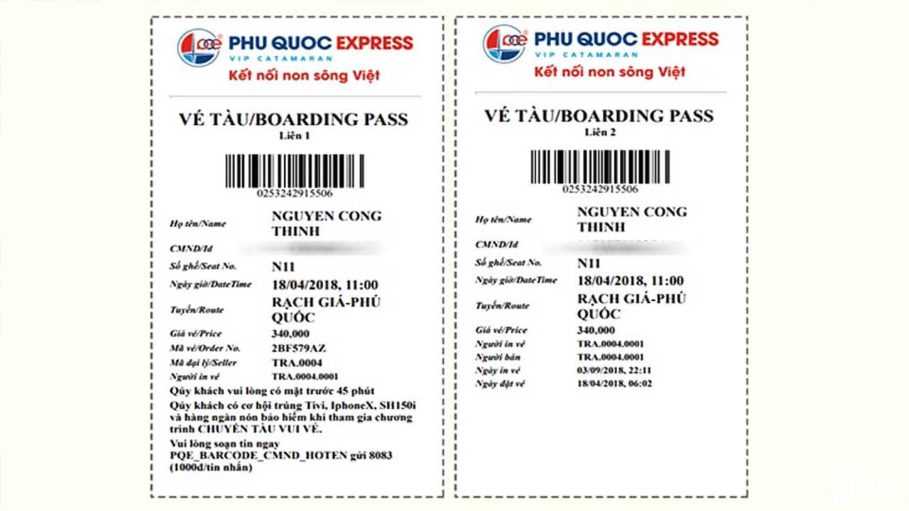 Vé điện tử khi bạn mua vé tàu cao tốc Phú Quốc online
