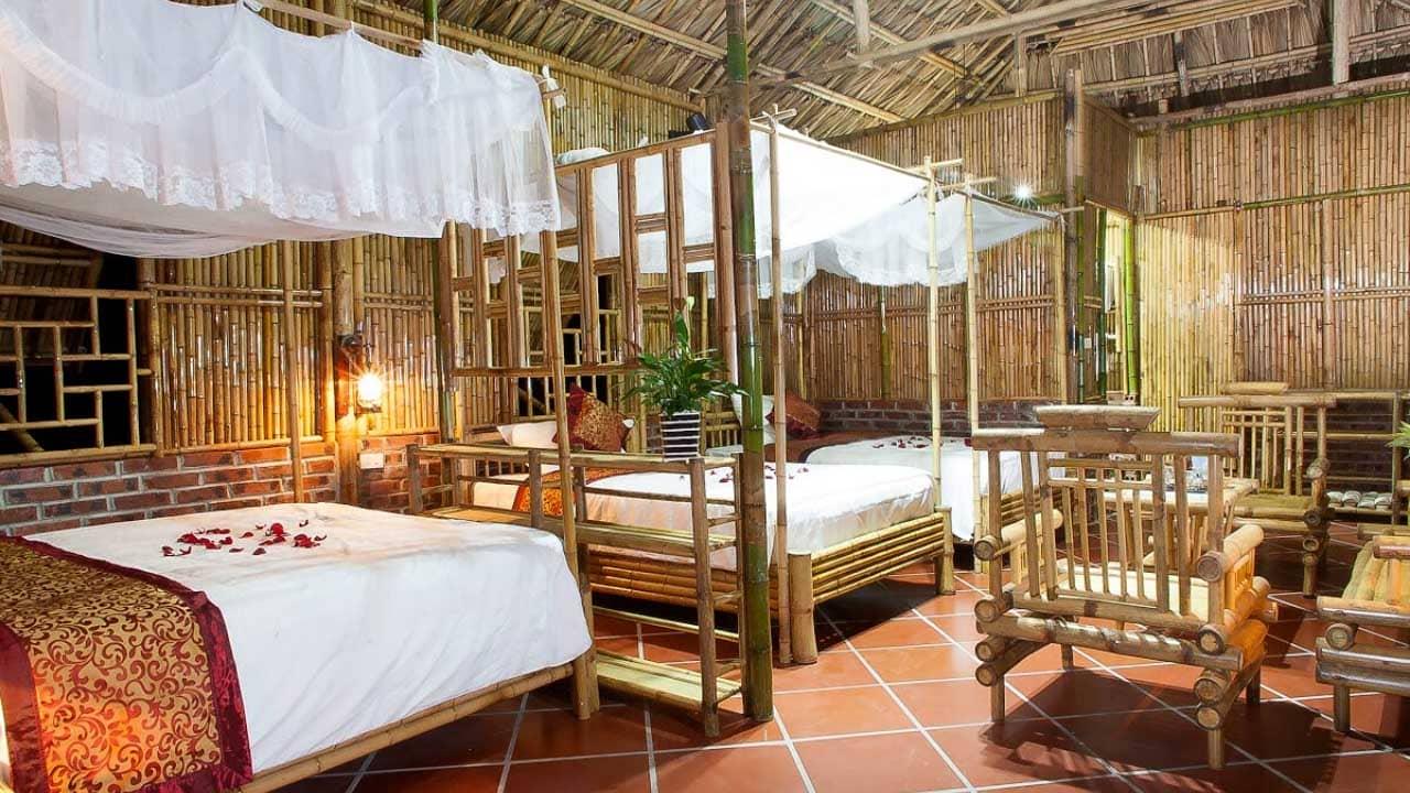 Phòng ngủ được thiết kế hoàn toàn bằng tre tại Hoalu Ecolodge Homestay