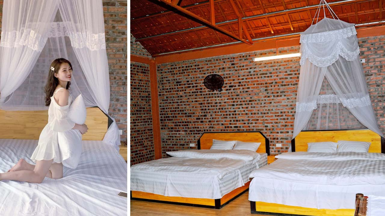 Phòng ngủ tại Lotus Lake Homestay với phong cách nhẹ nhàng