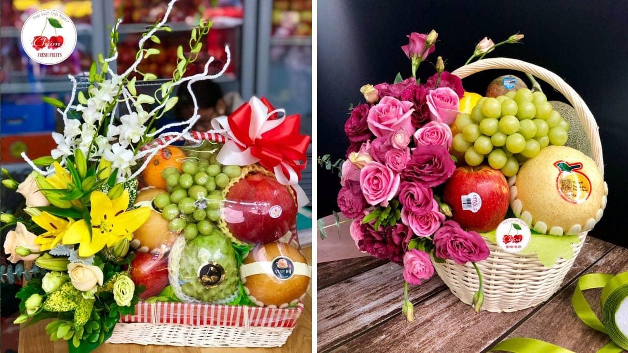 Giỏ trái cây tết tại Châm Fruits được kết hợp giữa trái cây và hoa tươi giúp giỏ thêm phẩn nổi bật ấn tượng