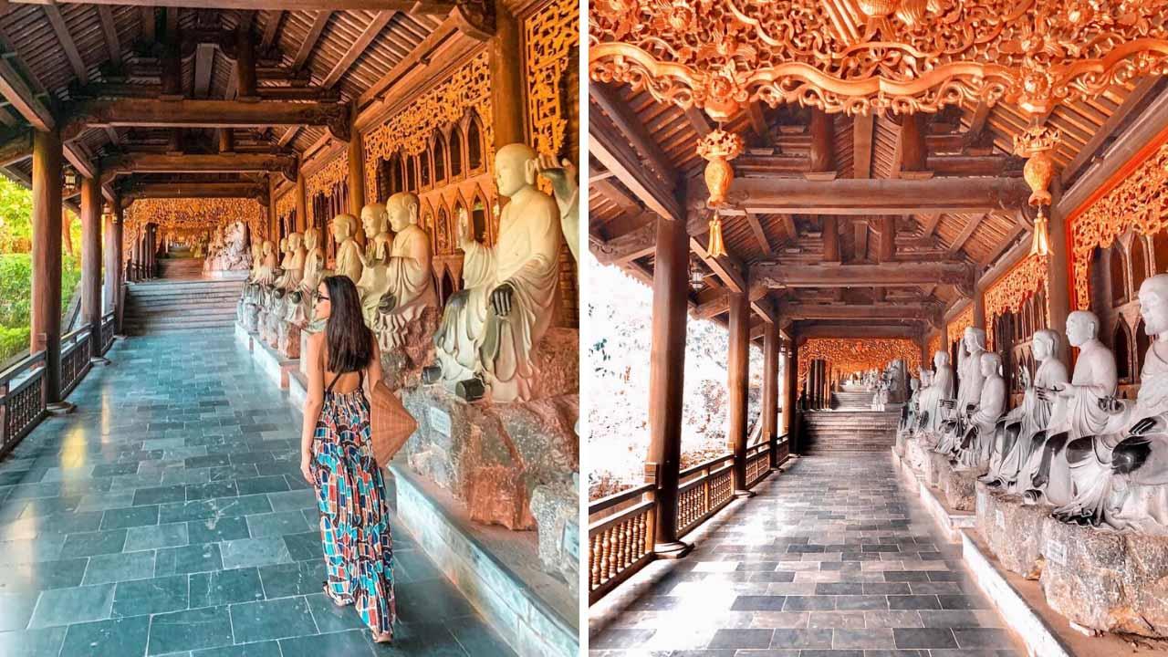 Hành lang La Hán tại chùa Bái Đính được chế tác đầy tinh tế