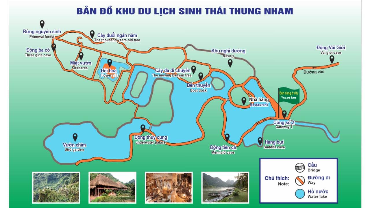 Bản đồ khu du lịch sinh thái Thung Nham