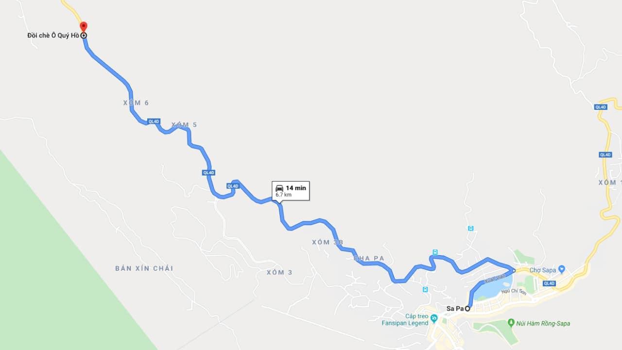 Cung đường di chuyển đến đồi chè