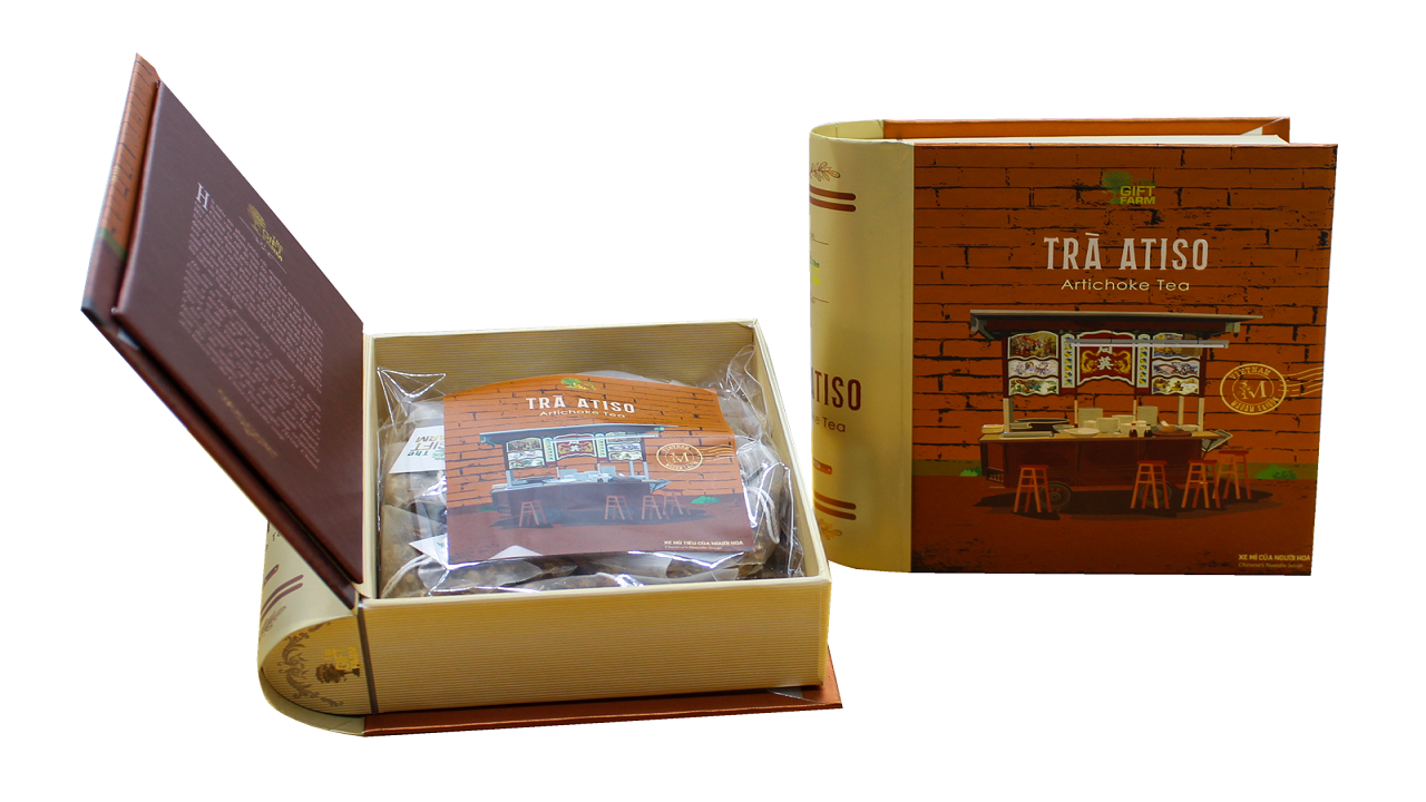 Trà Atiso được đóng gói cẩn thận trong hộp gỗ rất sang trọng.