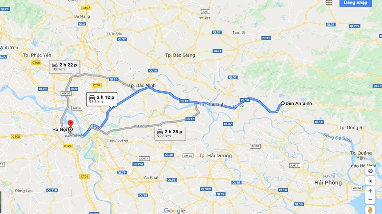 Đường đi từ Hà Nội đến đền An Sinh
