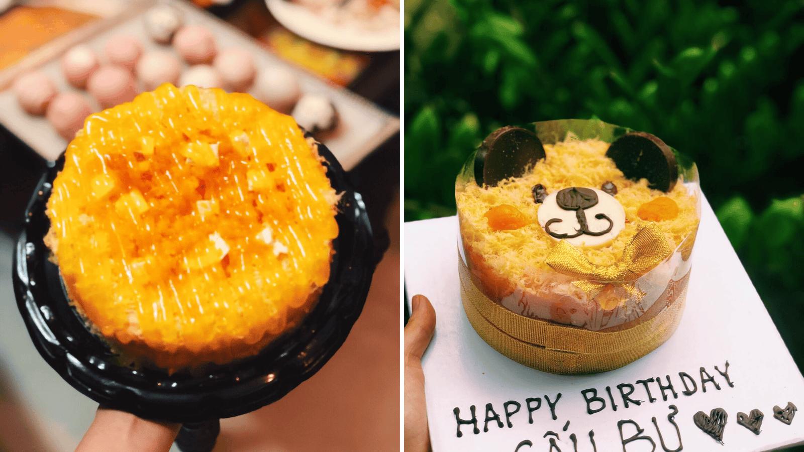 Bánh bông lan trứng muối sinh nhật làm theo yêu cầu khách đặt